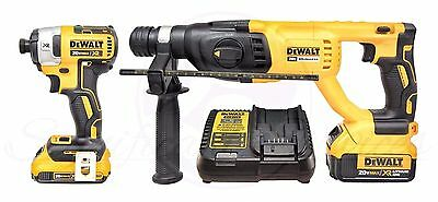 NEW DeWALT 20V MAX XR Li-Ion Brushless Impact Driver SDS Hammerdrill Combo Kit