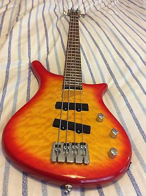 SHINE Bass Guitar: Sunburst Red Quilted In Fantastic Condition