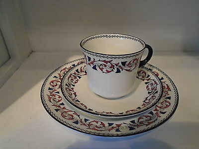 Sutherland china deco trio. Black, pink, purple. Cup , saucer and plate.