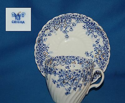 """Vintage blue and white """"Geisha"""" pattern  duo, breakfast cup and saucer"""