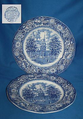 """Two Vintage blue and white 10"""" (25cm) Liberty Blue plates"""