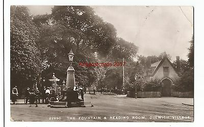 London Dulwich Village Fountain & Reading Room Real Photo Vintage Postcard