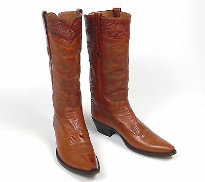 c5cd6df26c9 JB HILL WHISKEY Brown Kangaroo Cowboy Boots - Mn's 8D Pointy X-toe Tall  Tooled