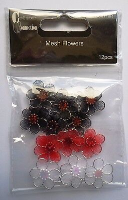 Colour Connection Mesh Flowers - 12.  Black, Red and White