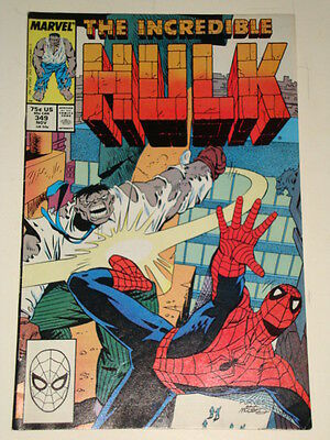Marvel Hulk The Incredible Issue # 349 Nov 1988 'warzone' Gd Con Spider-Man