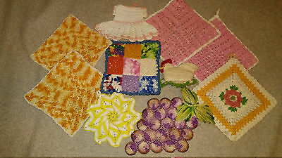 Lot 10 Vintage Hand Crocheted Kitchen Hot Pads Pot Holders chicken pin cushion