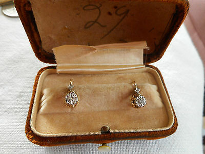 Antique 18K or higher gold earrings  in original box,  2 g,tiny diamonds