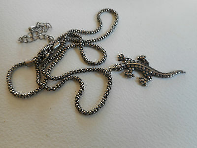 Vintage sterling silver lizard and silvertone thick chain