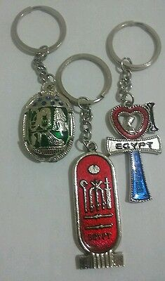 Lot of 3 Egyptian Keychains, Scarab, Hieroglyphic & Ankh very nice