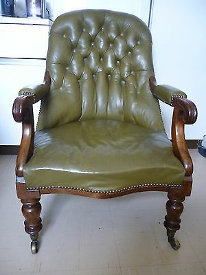Victorian Library Chair Mahogany circa 1850 upholstered in high quality leather