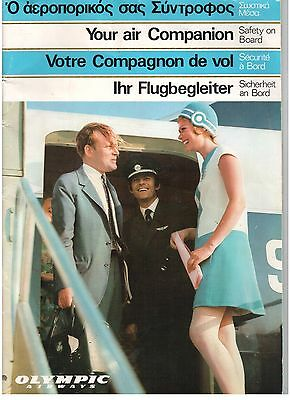 Olympic Airways Boeing 707 & 727 Vintage Safety Card Air Companion Magazine Oa