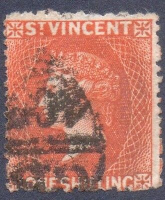St Vincent 1875/8  /- Vermillion WMK Star  Good Used  SG 24 Cat £85