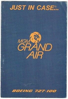 Mgm Grand Air Boeing 727-100 Safety Card 1987