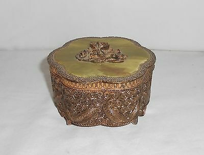 Vintage Japan Gold Metal Footed Trinket Box Green Inlay Hinged Lid Metal Flowers