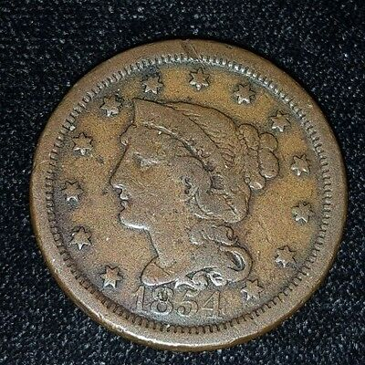 1854 Braided Hair Large One Cent