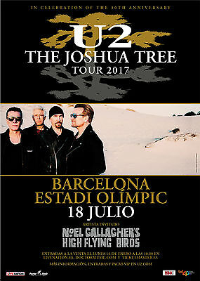 U2 The Joshua Tree Tour 2017 Barcelona Spain Promo Poster (Not Tickets)