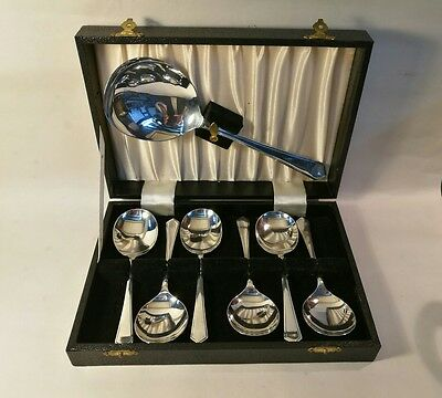 Vintage Silver Plated Pudding Spoons - Boxed Excellent Condition