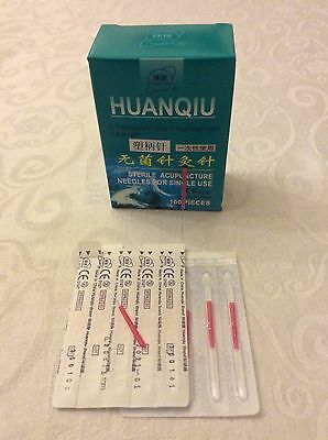 100 Acupuncture Needles plastic handles 0.2x15mm suitable for face+ear very fine