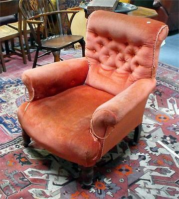 Antique Victorian scroll back and arm button back armchair for reupholstery