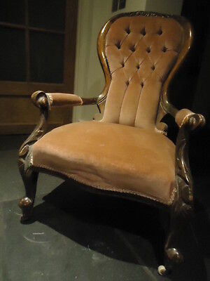 Antique early Victorian spoon shape button back armchair for reupholstery