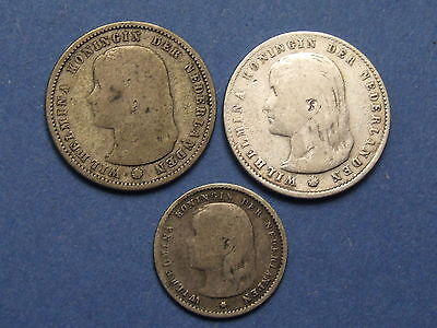 Silver Coins From Netherlands , Willemiina Young Head 10 & 25 Cents 1892 -1897