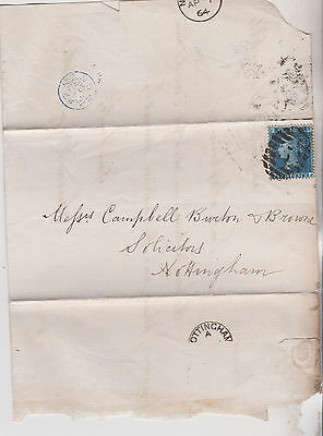1864 QV LONDON ENTIRE WITH FINE 2d BLUE STAMP MAILED TO NOTTINGHAM