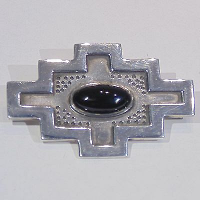 Vintage Sterling silver black onyx Southwest style cruciform stepped pin/brooch