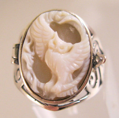 Owl Cameo Poison Ring Locket Sterling Silver Size 8 Vintage Jewelry Jewellery