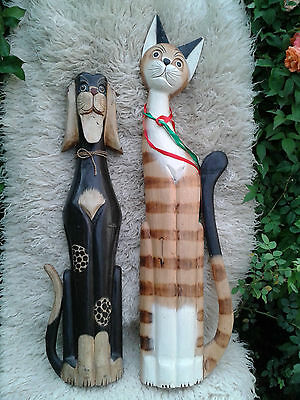 Hand Carved Dog and Cat Decorative Figurines / Wall Decor