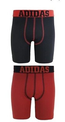 adidas Performance Youth Boxer Briefs 2 Pairs Climalite  XL Red / Black NIP