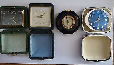 Lot of 3 vintage travel clocks & a small clock Westclox Seth Thomas