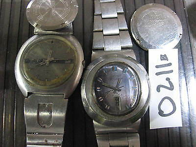 2pc Vintage SEIKO DIAMATIC 7006 6119C Automatic w Band Gents Parts Watch AsIs
