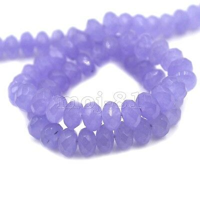 """5x8mm Natural Faceted Lavender Jade Rondelle Gemstone Loose Beads 15"""" AAA"""