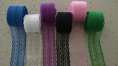 45mm Fabric Embroidered Net Lace Bilateral Trim Ribbon Sewing 1m
