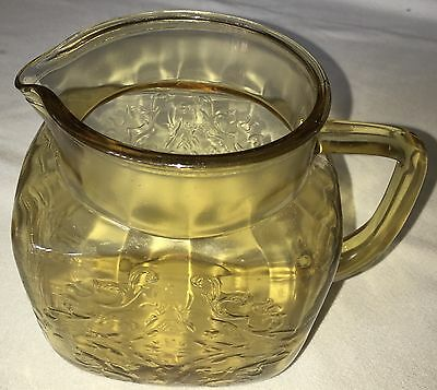 Vintage Yellow Amber Madrid Depression Glass, Pitcher, 40 oz, EAPG