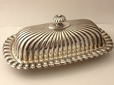 ANTIQUE PS CO SCALLOPPED GALORE SILVERPLATE BUTTER DISH COMPL W/ GLASS 021017cF