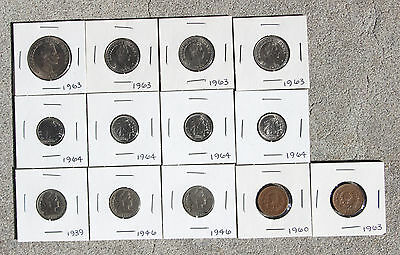 Lot Of 13 Colombia Coins 1939 - 1964