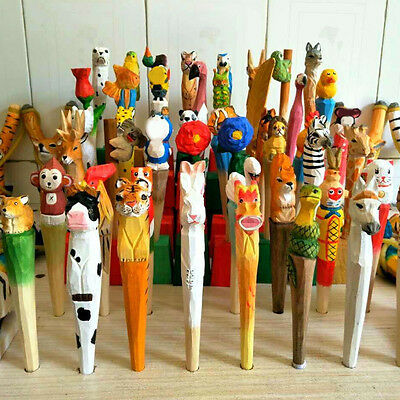 Creative Animal Carved Wooden Natural Ball Point Pen Collection Handmade Gifts
