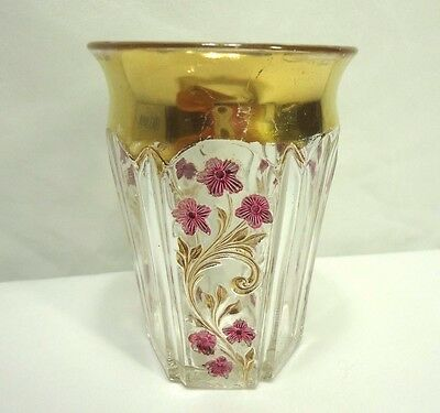 EAPG Indiana Glass Paneled Heather Tumbler Ruby Stain Gold Trim