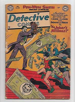 Detective Comics #180 Joker Cover and Story (DC 1952) VG Hard to Find!