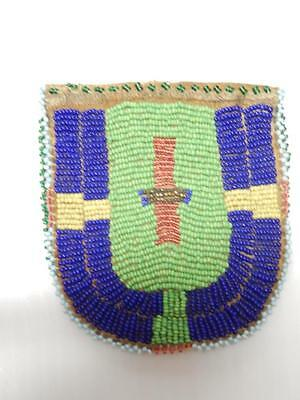 ANTIQUE VINTAGE N. CHEYENNE MONTANA PLAINS INDIAN FULL BEADED POUCH c.1890s