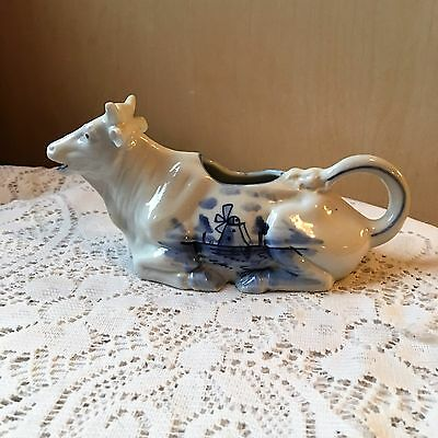 Vintage Delft Blue Resting /  Reclining / Laying Cow Creamer Marked Germany 1895