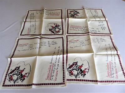 4 Vintage Linen Napkins Horse Hunter Fisherman Game & Gun Licences Gamekeepers