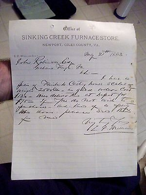 "Collectible 1883 Letter Head ""SINKING CREEK FURNACE STORE"" Newport,Virginia"