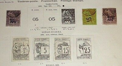 lot early Diego Suarez French Colony stamp used hinged to 19th C album pages
