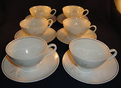 Noritake China Windrift 6117 Lot of 6 Cups and Saucers
