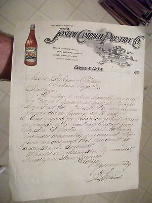 "Collectible 1898 Letter Head ""JOSEPH CAMPBELL PRESERVE CO."" Camden,New Jersey"
