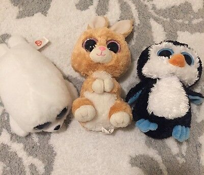 Ty Retired Beanie Boos Lot Waddles, Carrots, Icy Penguin Bunny And Deal