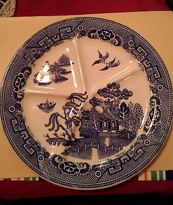 1890-1899 Holland Blue Willow Petrus Regout Maastricht Serving Plate 5 Sections