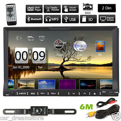"HD Double 2 Din 7""INCH Car Stereo Radio DVD Player Bluetooth CD MP3 SWC+Camera"